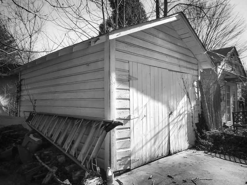 twin garages, large ladder, late light, backyard, Asheville, NC, Panasonic Lumix DMC-ZS50, 1.23.21