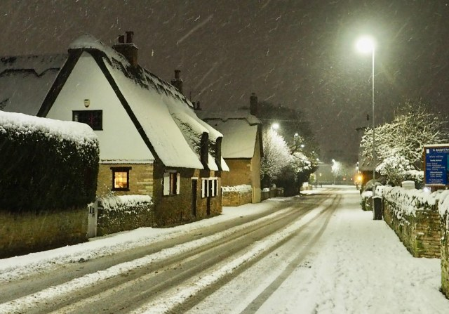 The village on a snowy evening.