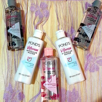 Pond's Vitamin Micellar Water Collection: Detoxing Charcoal, Nourishing Milk, Brightening Rose