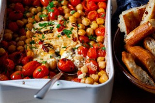 baked feta with tomatoes and chickpeas