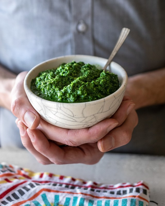 homemade cilantro-mint chutney