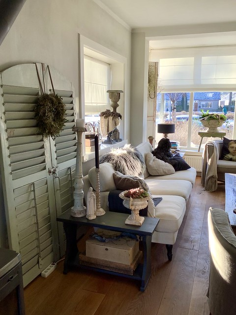 Vouwgordijnen landelijk brocante woonkamer