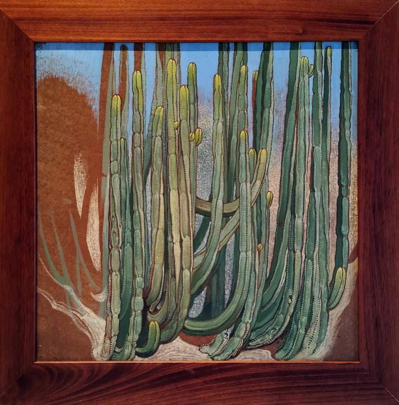 pintura Euphorbia canariensis cardón flora canaria Museo Nestor Las Palmas de Gran Canaria
