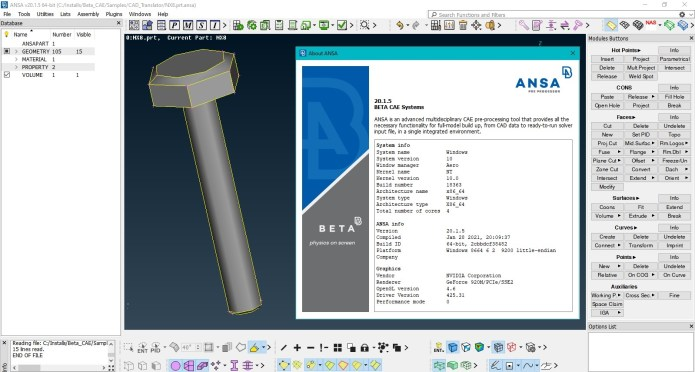 Working with BETA-CAE Systems ANSA 20.1.5 full