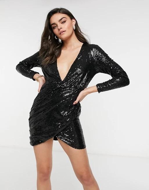 10_asos-black-sequin-mini-dress-plunge-neckline-wrap-skirt