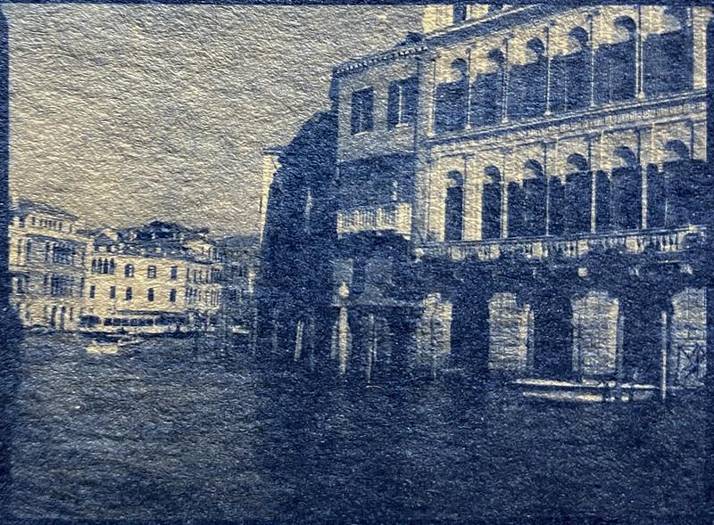 architectural forms and movements, visual rhythm, Grand Canal, Venice, Italy, cyanotype, natural fiber hot press paper, Mamiya 645 Pro, Fomapan 200, Moersch Eco Developer, November, 2016