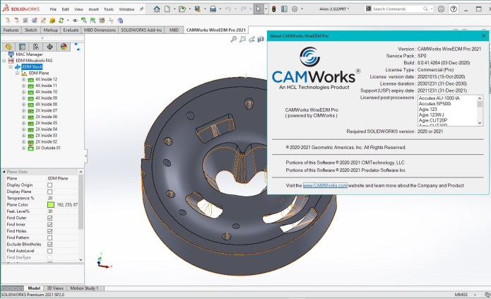 Working with CAMWorks WireEDM Pro 2021 SP0 for SolidWorks 2020-2021 full