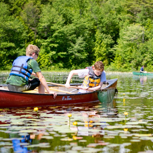 Kids in a canoe exploring a pond with waterlilies in the summertime.