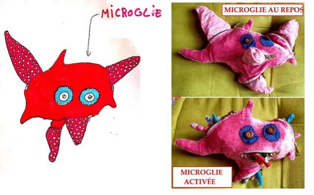 Prototype microglie (couture Héloïse Théro) - dessin dans les temps périscolaires avec les Savanturiers et la Mairie de Paris.
