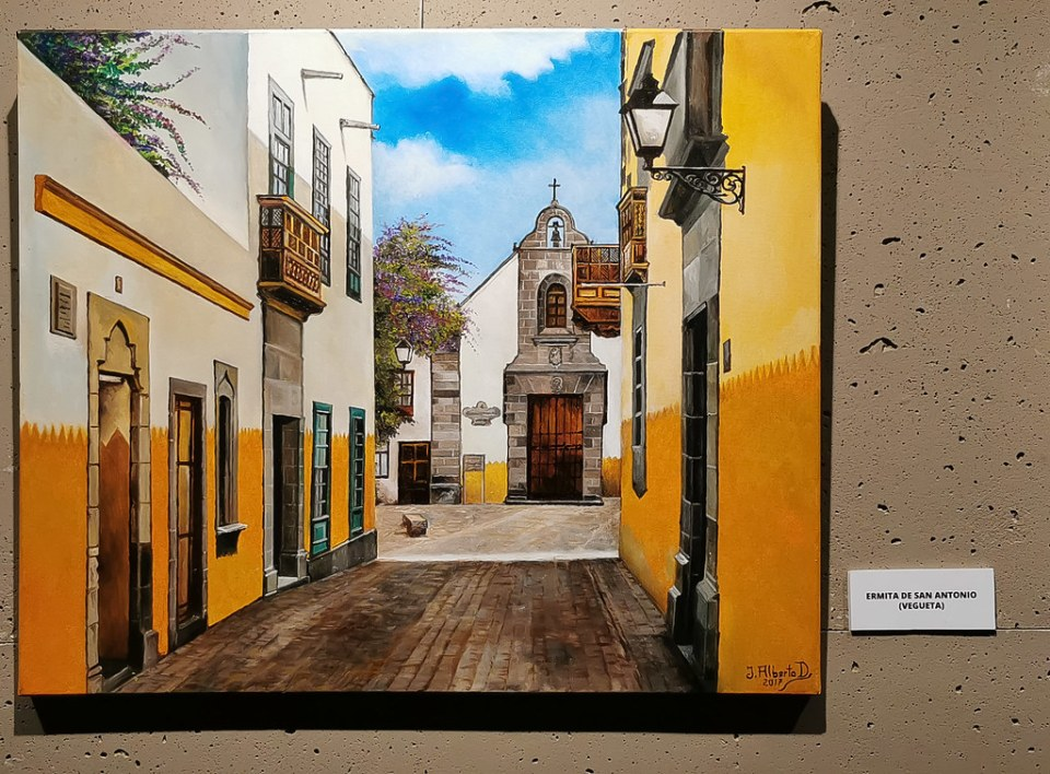 Pintura Ermita de San Antonio Juan Alberto Diaz exposicion ambito cultural Corte Ingles Las Palmas De Gran Canaria