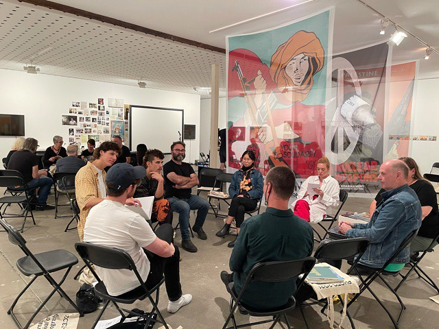 A small group discuss Photobooks at the CCP Fitzroy