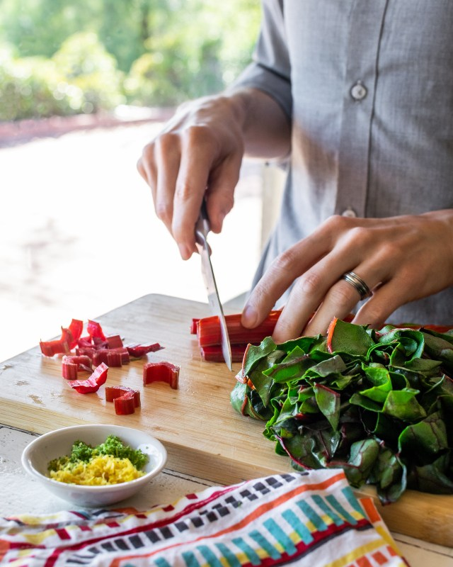 chard stems have a vivid red color and a subtle earthy flavor