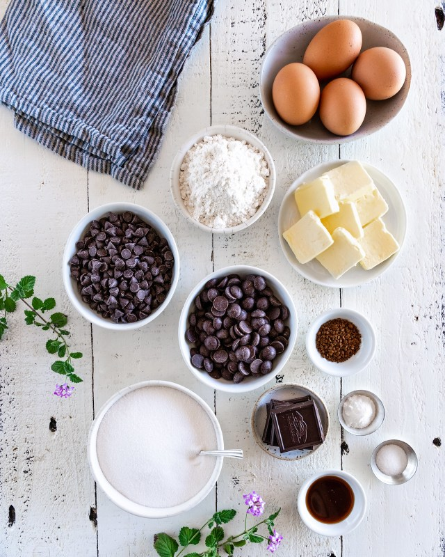 all the ingredients you'll need to make triple chocolate fudge brownie cookies