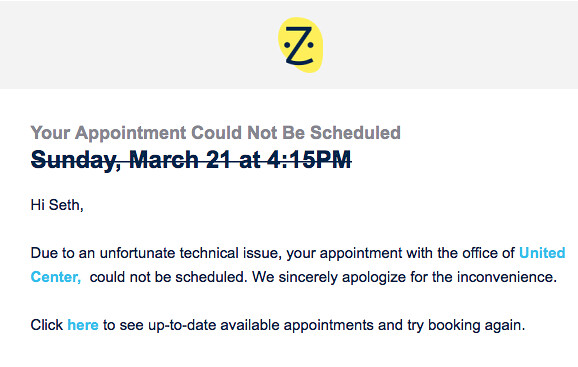 "ZocDoc Failure ""Your Appointment Could Not Be Scheduled"""