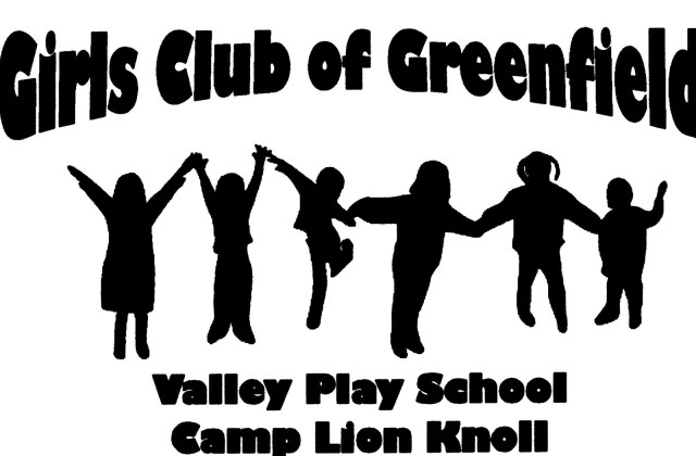 Black and white logo for Girls Club of Greenfield: Valley Play School & Camp Lion Knoll.