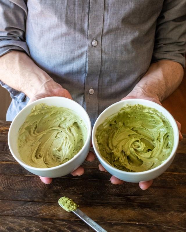 two shades of jade-green matcha frosting