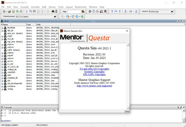 Working with Mentor Graphics QuestaSim 2021.1 full