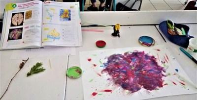 Cerveau à la façon Van Gogh avec hémisphères gauche et droit - Création élève intervention collège Jean Monnet, Saint Jorioz, 2018.