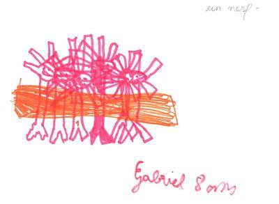 Dessins de neurones formant un nerf, dans les temps périscolaires avec Les Savanturiers et la Mairie de Paris.