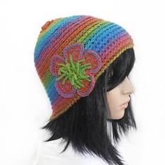 Rainbow Flower Beanie