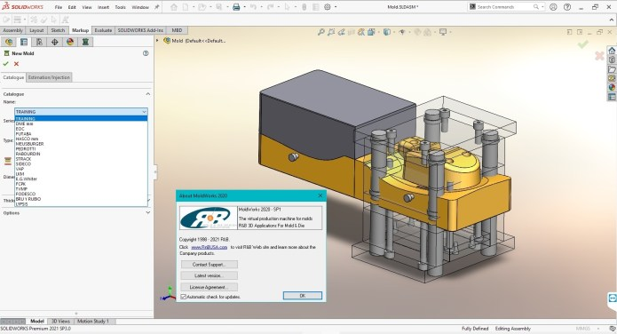Working with R&B MoldWorks 2020 SP1 for SolidWorks 2015-2021 full