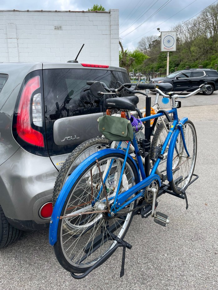 Picking up our bikes from the bike shop