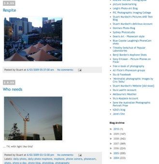 screen grab of final blogposts from blogger