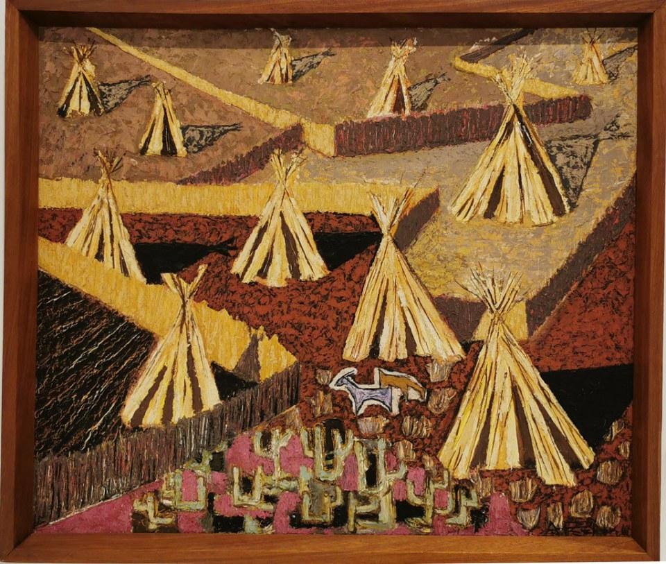 Cañas en el sur Cucañas 1960 oleo sobre cartón pintura Sala del Artista Casa-Museo Antonio Padrón Gáldar Gran Canaria