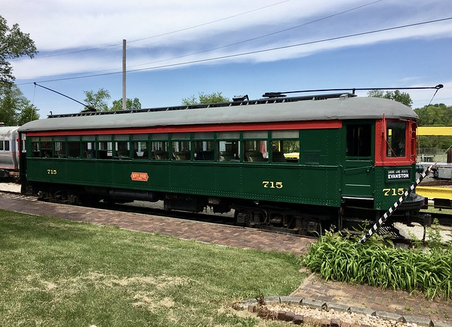 Former North Shore Line car 715 at the Fox River Trolley Museum