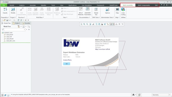 Working with BUW EMX (Expert Moldbase Extentions) 13.0.2.6 for Creo 7.0 full