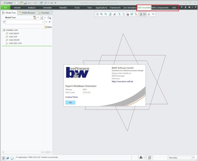 Working with BUW EMX (Expert Moldbase Extentions) 12.0.2.10 for Creo 4.0-6.0 full
