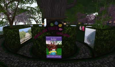 Entrance to Raglan Tree Gallery with the Buttercup Bunneh artist poster