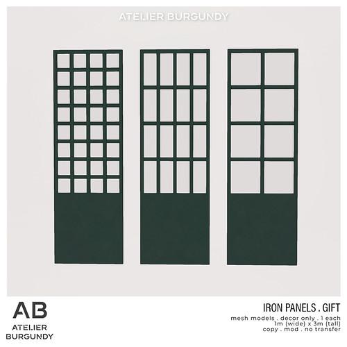 Atelier Burgundy . Iron Panels GIFT
