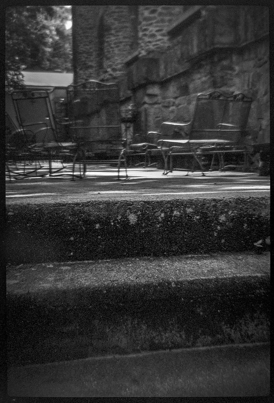 looking up, stairs to patio, wrought iron tables and chairs, Montreat Conference Center, Montreat,  NC, Bencini Koroll 24S, Fomapan 200, Ilford Ilfosol 3 developer, 6.12.21