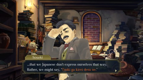"""The Great Ace Attorney Chronicles - Soseki says: """"...that we Japanese don't express ourselves that way. Rather, we might say, 'Tsuki ga kirei desu ne.'"""""""