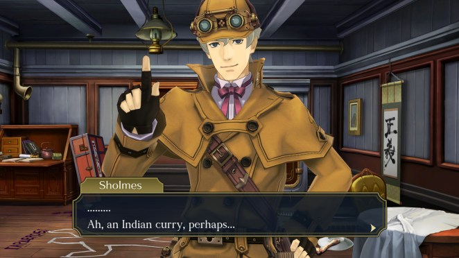 """The Great Ace Attorney Chronicles - Sholmes says: """"... Ah, an Indian curry, perhaps..."""""""