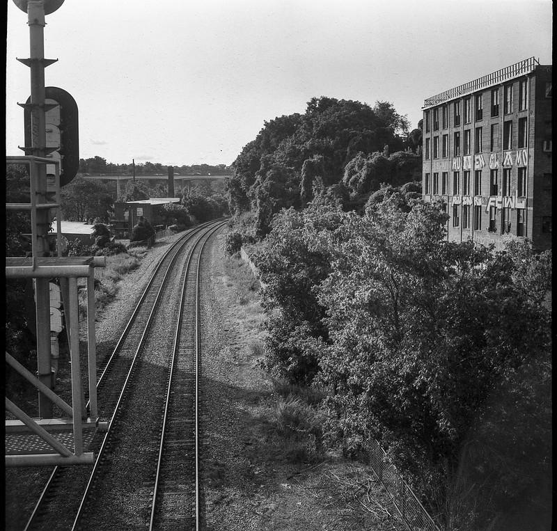 railroad district, tracks, signal apparatus, abandoned warehouse, urban decay, late light, Asheville, NC, Welta Weltur, Fomapan 200, HC-110 developer, 7.7.21