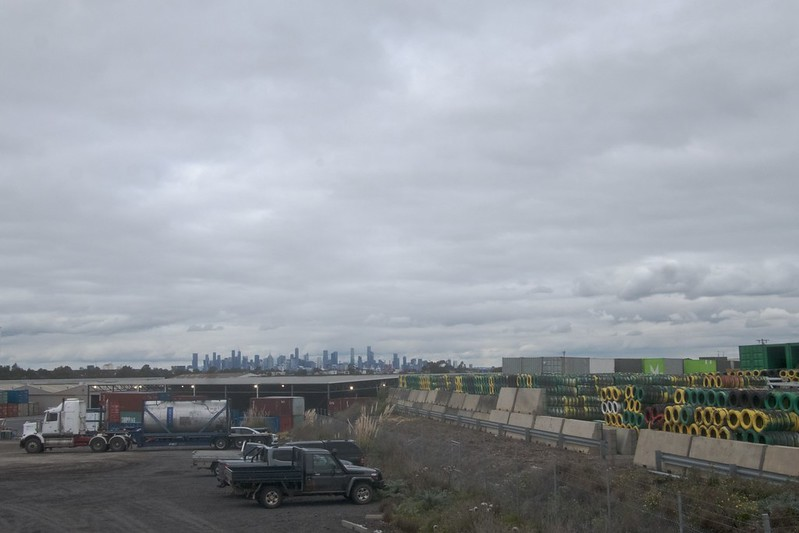 Atop a rail siding overlooking Melbourne facing south east 2021-07-23 15:36:47