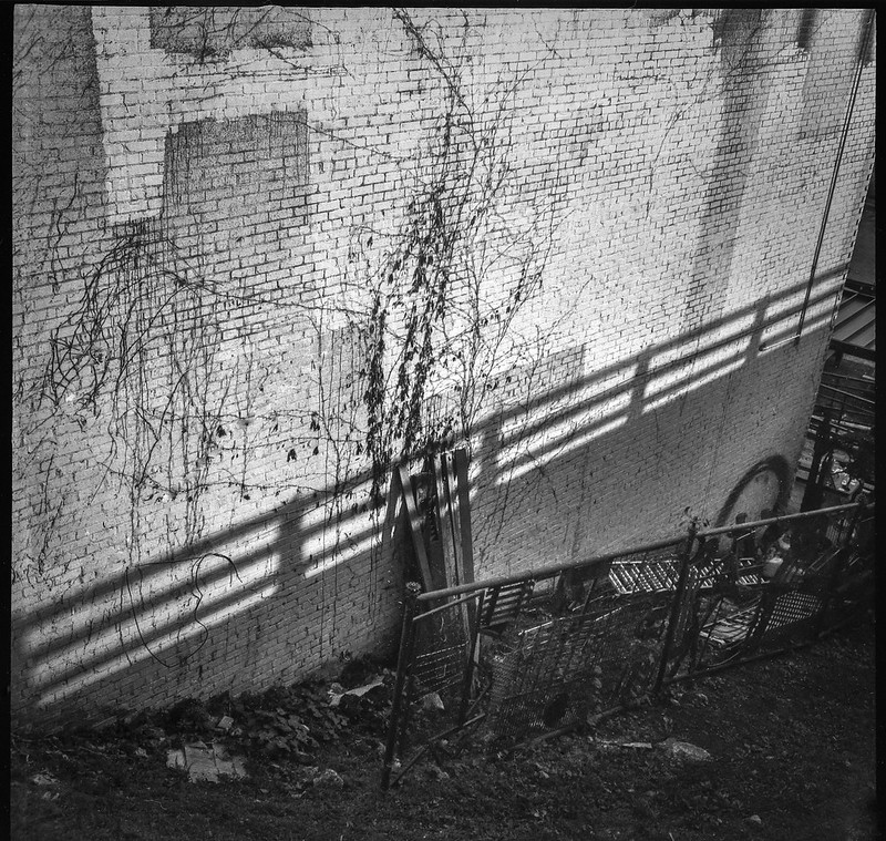 looking down, Haywood Road overpass, urban decay, cast shadow from guard rail, discarded materials, Asheville, NC, Welta Weltur, Fomapan 200, HC-110 developer, 7.7.21