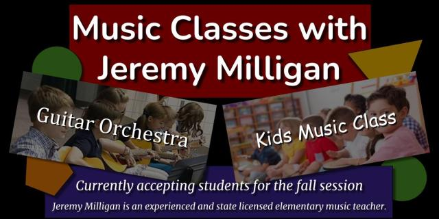 Music Classes with Jeremy Milligan in South Hadley, Massachusetts.