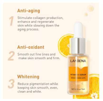 LANBENA Vitamin C Whitening Serum Moisturizer Remove Freckle Speckle Fade Dark Spots Anti-Aging Skincare 15ml