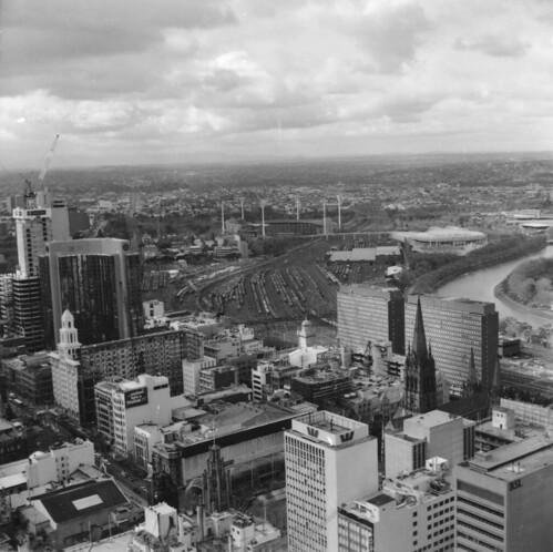 A view from Melbourne looking east atop a skyscraper around 1990
