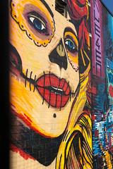 Graffiti stitched mouth face