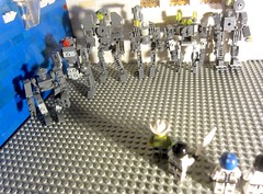 Classic Space: Robot Lineup victim tries to identify the bot that mugged him and stole his man-bag (Minifigures and Mechas LEGO toy droids MOC sci-fi)