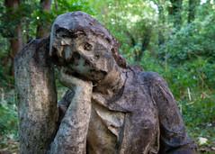 Old statue girl graveyard
