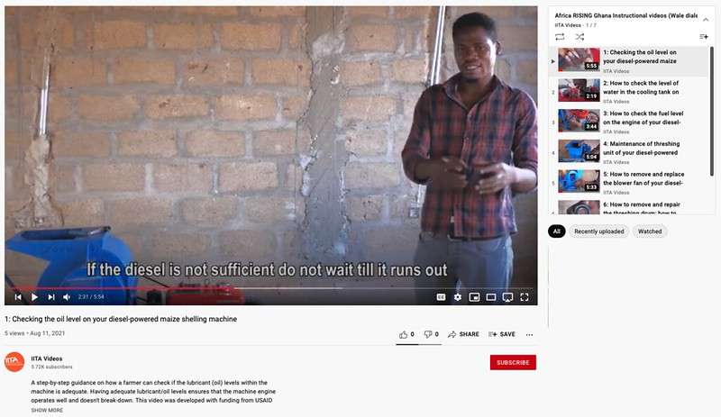 Africa RISING releases 35 vernacular DIY videos on maintenance of maize shelling machines for reference use by farmers in northern Ghana