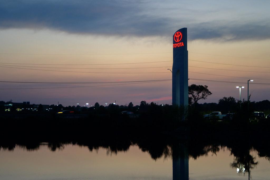 Sunset over the Toyota dealer