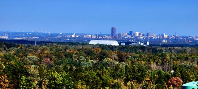Wider view of Buffalo and Niagara Falls, ON from Chestnut Ridge