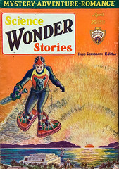 """""""Science Wonder Stories,"""" Vol. 1, No. 11 (April, 1930).  Cover art by Frank R. Paul for """"An Adventure in Time"""" by Francis Flagg."""