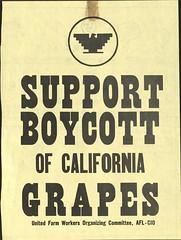 United Farm Workers 'Boycott Grapes' flyer – 1969 ca.
